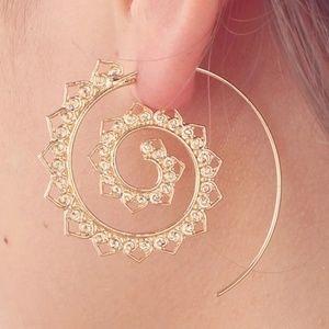 Ethnic Heart Shape Spiral BOHO Drop Earrings Jewel